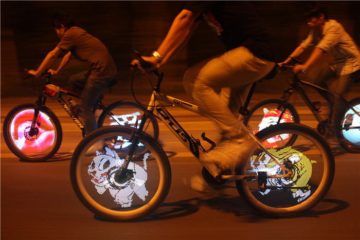 LED lights on bike wheel